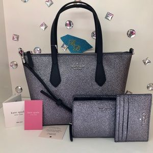 Kate♠️Spade JOELEY GLITTER SMALL SATCHEL 3 PC SET
